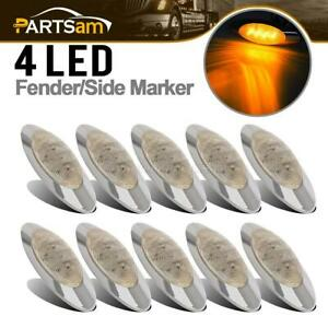 10x 6 5 8 Side Marker 4led Light Clearance Clear amber Chrome Cab Sleeper Panel