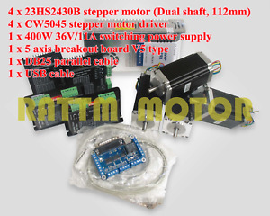 4 Axis Cnc Nema23 Stepper Motor 112mm dual Shaft 425oz in driver power Supply