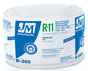 R11 Unfaced Insulation 50 Sq Ft Cover 15 x40 Roll Johns Manville 90003724