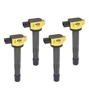 Accel 140311 Coil Super Coil 4 pack Socket Yellow For Acura Honda