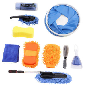 Pack Of 10 Car Wash Tools Towel Clean Cham Brush Sponge Glove Folding Bucket