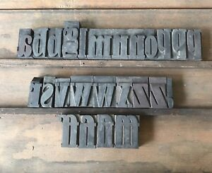 Vintage Letterpress Font Type Lowercase 2 Wood Printer Block 25 Piece