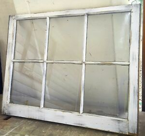 Architectural Salvage 6 Pane Antique Wood Window Sash Distressed 32x28