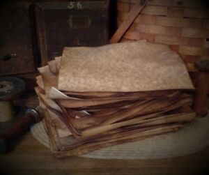 Primitive Aged Stained Antique Stationary Tags Cardstock Full Sheets