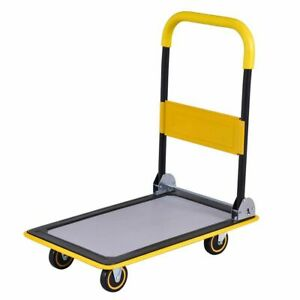 Folding Platform Cart 330lb Rolling Flatbed Cart Hand Platform Truck Push Dolly