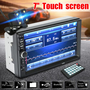 7 2 Din Touch Screen Car Mp5 Mp3 Player Bluetooth Stereo Fm Radio Free Camera