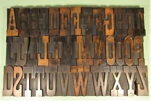 Antique No 7 American Wood Type Letterpress Blocks 4 Inch Uppercase Caps