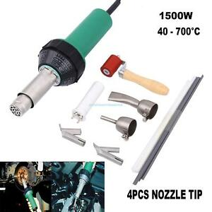 1500w Hot Air Plastic Welding Gun Welder Pistol 4 Speed Nozzle Roller Set