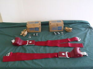 Nos 1966 1967 Ford Galaxie Red Seat Belts Rotunda Fomoco Oem 66 67