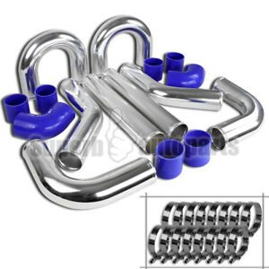 8x Universal 3 Aluminum Turbo Intercooler Piping Kit elbow Hose clamp Chrome