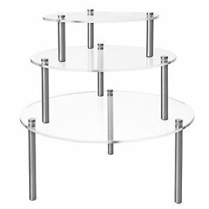 Set Of 3 Round Clear Acrylic Retail Display Risers Dessert Bakery Stand