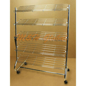 Chrome Finish 5 Shelves Shoe Rack Organize Storage Display Rack With Wheels