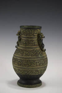Antique Chinese Bronze Tong Dynasty Style Ritual Wine Vase Ca 1800s