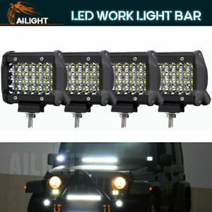 4x 4inch 108w Round Led Work Light Bar Flood Offroad Driving Fog Lamp 12v 24v