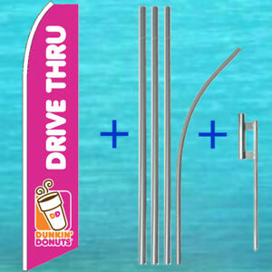 Dunkin Donuts Drive Thru Flutter Flag Pole Mount Kit Feather Swooper Banner