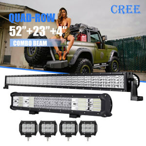 52inch 3600w 23in Quad Row Led Light Bar 4 Pods Offroad Jeep Ford Suv Pickup
