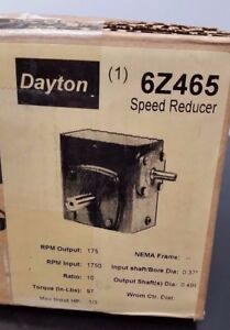 Dayton Speed Reducer Gear Box Electric Motor 1 3 Hp 10 1 1750 To 175 Rpm 6z465