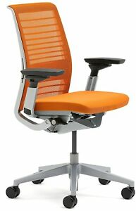 New Steelcase Think Office Desk Chair 3d Knit Tangerine 465a300 5094