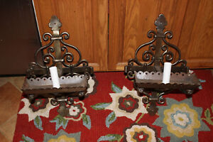 Vintage Mission Gothic Wrought Iron Wall Sconce Candle Holders Pair Large