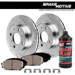 Front Drilled And Slotted Brake Rotors Ceramic Pads For 2007 2013 Sentra