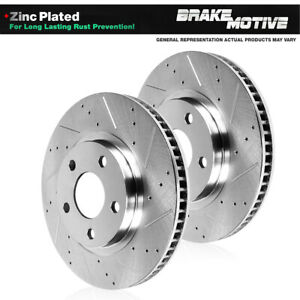 Front Drill And Slot Brake Rotors For 2005 2006 2007 2008 2014 Ford Mustang