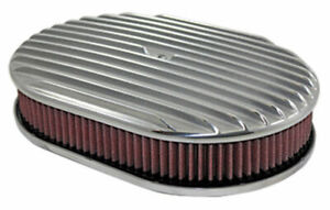 12 Full Finned Polished Aluminum Oval Air Cleaner W Washable Filter Chevy Ford