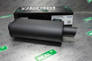 Vibrant Streetpower Black Oval Muffler 15 Inch Length 3 Inch Inlet Outlet 1147