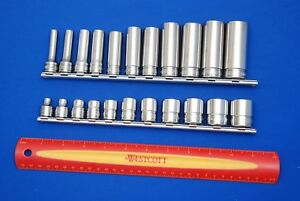 New Snap On 22 Pc 3 8 Drive 6 Point Sae Deep Shallow Socket Set Ships Free