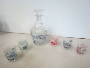 7 Piece Vintage France French Victorian Decanter Set Ships Carriages W921k