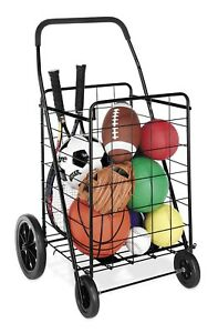 Folding Shopping Cart Jumbo Basket For Grocery Laundry With Wheels Easy Capacity