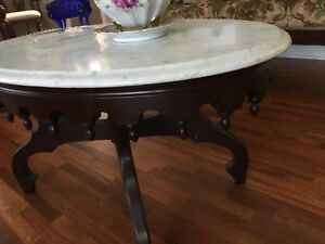 Antique Victorian Coffee Table Oval Beveled Marble Top Dark Wood Base