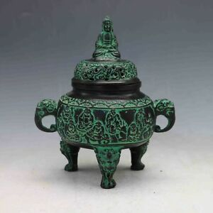 Collectible Decorated Chinese Hand Carved Bronze Buddha Incense Burner