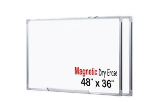 Large Premium Grade 48x36 Inch Magnetic Dry Erase White Board 2 Pack