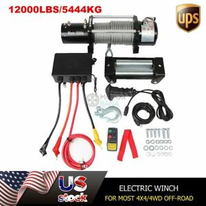 12000lbs Electric Winch With Steel Wire Rope Wireless Remote Dc12v 4x4 4wd