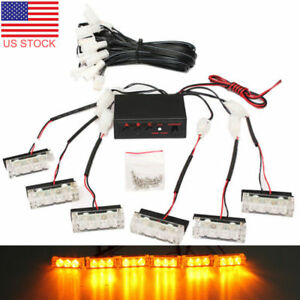 18 Led Car Truck 12v Amber Dash Emergency Flash Warning Strobe Light Bar Mad