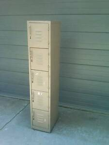 Vintage School Locker Gym Storage Gray Industrial Box 5 Compartment Metal Steel