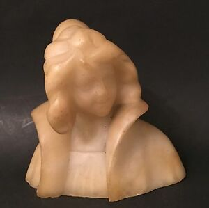 Alabaster Marble Lady Bust Antique