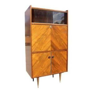 Beautiful French Art Deco Exotic Walnut Bar Credenza Drop Down Front As Is