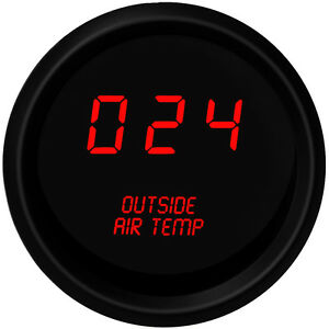 Digital Outside Air Temperature Gauge W Sender Red Leds Black Bezel Warranty