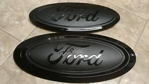 2017 20 Ford F250 F350 Grill And Tailgate Emblem Gloss matte Black Combo Pair