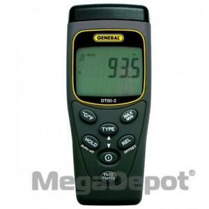 General Tools Dt80 2 Two channel Types k And j Thermocouple Thermometer