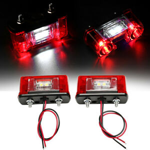2x12v 24v Led Rear Tail License Plate Light For Car Truck Trailer Lorry