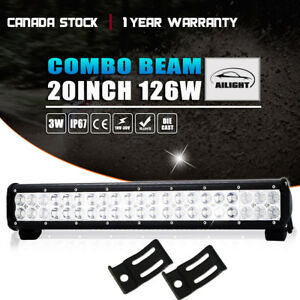 20 Led Light Bar Combo Beam Fits Snow Plow Blower Lawn Tractor Mower Towing