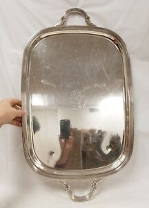 Huge Heavy Antique Silverplate Serving Tray