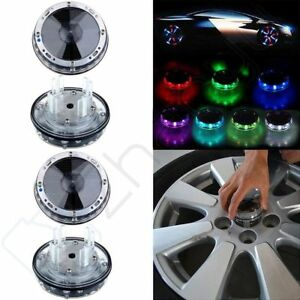 4pcs Color Led Solar Car Wheel Signal Tire Air Valve Cap Neon Light Flash D cor