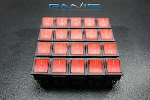 20 Pcs Rocker Switch Red Led Dpst On Off 15 Amp 250 V 20 Amp 125 V 6 Pin Ec 620