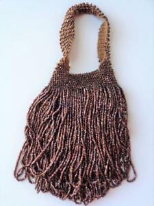 Small Victorian Antique Beaded Handbag Purse Flapper Copper Coffee Brown Beads