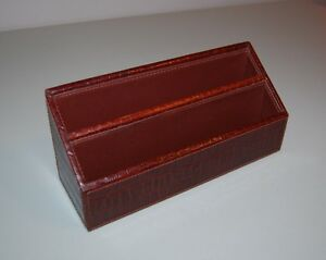 Genuine Leather Brown Textured Desk Letter Holder Perfect Condition