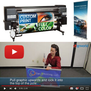 33 Retractable Roll Up Banner Stand Full Color Custom Vinyl Print