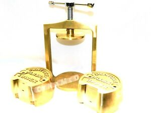 Dental Laboratory Spring Press Compress With Two Flask Original Brass 3 Pieces